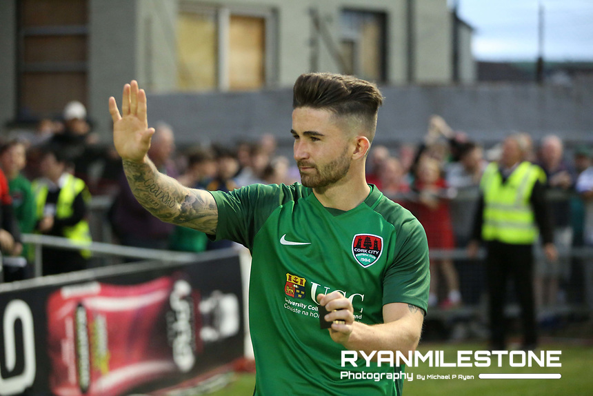 2017 UEFA Europa League Second Qualifying Round, Cork City vs AEK Larnaca, Thursday 13th July 2017, Turners Cross, Co Cork,  Sean Maguire waves goodbye to the fans following his last game at Turners Cross, Credit: Michael P Ryan