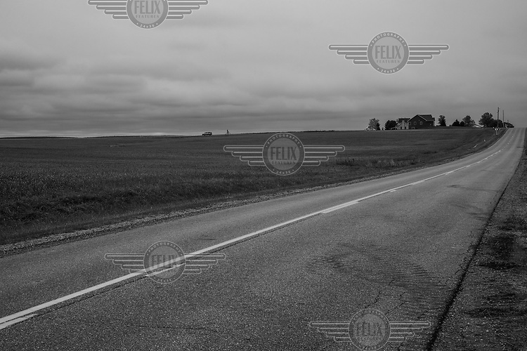 A road leading through Overisel Township where, in 2016, 84% of the people in this predominantly white rural community voted for Donald Trump.