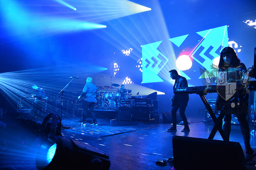 MIAMI BEACH, FLORIDA - JANUARY 18: Phil Cunningham, Bernard Sumner, Stephen Morris, Tom Chapman and Gillian Gilbert of New Order perform on stage at the Fillmore Miami Beach at the Jackie Gleason Theater on January 18, 2020 in Miami Beach, Florida.  ( Photo by Johnny Louis / jlnphotography.com )