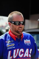 Jun. 17, 2011; Bristol, TN, USA: NHRA top fuel driver Shawn Langdon during qualifying for the Thunder Valley Nationals at Bristol Dragway. Mandatory Credit: Mark J. Rebilas-