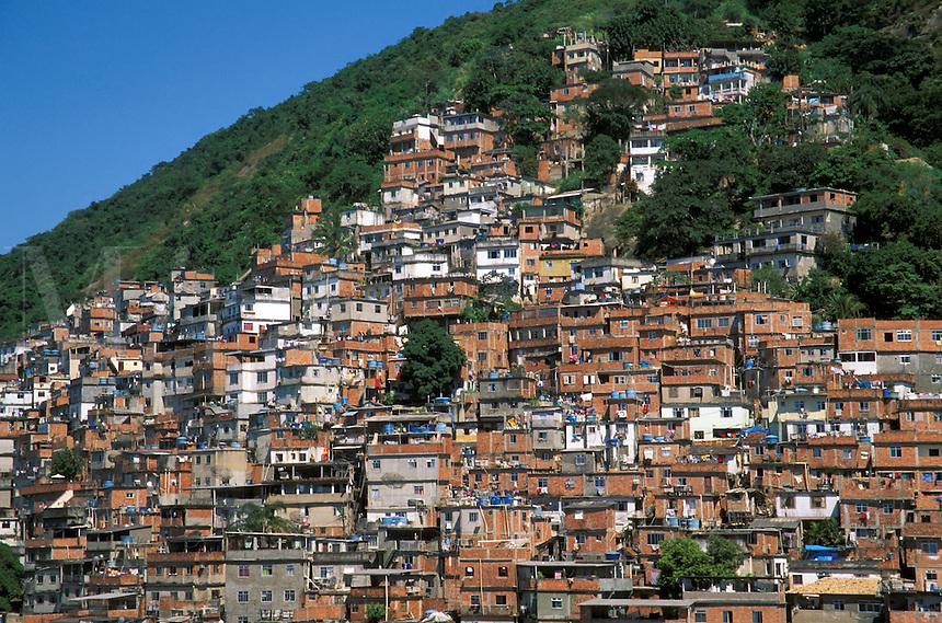 Slum callled favela in Brazil on Morro do Pavao hill , Rio de Janeiro, Brazil
