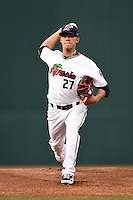 Fort Myers Miracle pitcher Jose Berrios (27) delivers a pitch during a game against the St. Lucie Mets on April 18, 2014 at Hammond Stadium in Fort Myers, Florida.  St. Lucie defeated Fort Myers 15-9.  (Mike Janes/Four Seam Images)