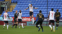 Bolton Wanderers' Ryan Delaney heads clear<br /> <br /> Photographer Stephen White/CameraSport<br /> <br /> The EFL Sky Bet League Two - Bolton Wanderers v Oldham Athletic - Saturday 17th October 2020 - University of Bolton Stadium - Bolton<br /> <br /> World Copyright © 2020 CameraSport. All rights reserved. 43 Linden Ave. Countesthorpe. Leicester. England. LE8 5PG - Tel: +44 (0) 116 277 4147 - admin@camerasport.com - www.camerasport.com