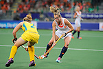 The Hague, Netherlands, June 07: Frederique Derkx #2 of The Netherlands defends during the match during the field hockey group match (Group A) between Australia and The Netherlands on June 7, 2014 during the World Cup 2014 at Kyocera Stadium in The Hague, Netherlands. Final score 0-0 (0-2) (Photo by Dirk Markgraf / www.265-images.com) *** Local caption ***