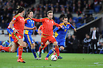 UEFA EURO 2016 Qualifier match between Wales and Andorra at Cardiff City Stadium in Cardiff : <br /> Aaron Ramsey of Wales gets the ball past Marcio Viera (8) and Adria Rodrigues of Andorra in the second half.
