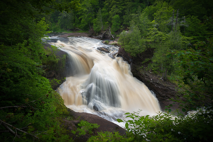 Rainbow Falls is located on the Black River in the UP of Michigan, close to the mouth of Lake Superior.