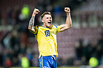 Hearts v St Johnstone…..14.12.19   Tynecastle   SPFL<br />Goal scorer Callum Hendry celebrates at full time<br />Picture by Graeme Hart.<br />Copyright Perthshire Picture Agency<br />Tel: 01738 623350  Mobile: 07990 594431