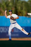 Dunedin Blue Jays shortstop Logan Warmoth (2) throws to first base during a game against the Fort Myers Miracle on April 17, 2018 at Dunedin Stadium in Dunedin, Florida.  Dunedin defeated Fort Myers 5-2.  (Mike Janes/Four Seam Images)