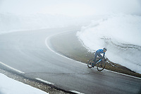 Antonio Pedrero (ESP/Movistar) descending from the Passo Giau<br /> <br /> due to the bad weather conditions the stage was shortened (on the raceday) to 153km and the Passo Giau became this years Cima Coppi (highest point of the Giro).<br /> <br /> 104th Giro d'Italia 2021 (2.UWT)<br /> Stage 16 from Sacile to Cortina d'Ampezzo (shortened from 212km to 153km)<br /> <br /> ©kramon