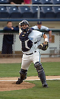 August 4, 2009: Everett AquaSox catcher Trevor Coleman makes a play to first base during a Northwest League game against the Boise Hawks at Everett Memorial Stadium in Everett, Washington.
