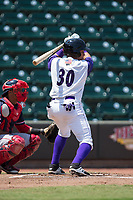 Bryant Flete (30) of the Winston-Salem Dash at bat against the Salem Red Sox at BB&T Ballpark on July 23, 2017 in Winston-Salem, North Carolina.  The Dash defeated the Red Sox 11-10 in 11 innings.  (Brian Westerholt/Four Seam Images)