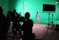 Pictured: Jack Cork 01 April 2015<br /> Re: Behind the scenes at the Swansea City FC kit launch video shoot at Bay Studios.