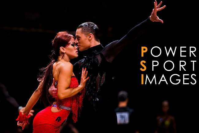 Umberto Gaudino and Louise Heise of Denmark  during the WDSF GrandSlam Latin on the Day 1 of the WDSF GrandSlam Hong Kong 2014 on May 31, 2014 at the Queen Elizabeth Stadium Arena in Hong Kong, China. Photo by AItor Alcalde / Power Sport Images