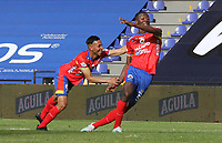 PASTO - COLOMBIA,20-09-2020:Danilo Arboleda  del Deportivo  Pasto celebra después de anotar el primer gol de su equipo durante el partido entre Deportivo Pasto y Jaguares de Córdoba por la fecha 9 de la Liga BetPlay DIMAYOR I 2020 jugado en el estadio Estadio La Libertad de la ciudad de Pasto. / Danilo Arboleda of Deportivo Pasto celebrates after scoring the first goal of his team during match between Deportivo Pasto and Jaguares of Cordoba for the date 9 BetPlay DIMAYOR League I 2020 played at La Libertad stadium in Pasto city city. Photo: VizzorImage / Leonardo Castro / Cont