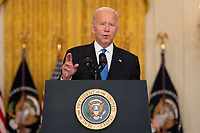 United States President Joe Biden delivers remarks after meeting with senior officials and stakeholders to discuss collective efforts to address global transportation supply chain bottlenecks in the East Room of the White House in Washington, DC on Wednesday, October 13, 2021. Credit: Chris Kleponis / Pool via CNP /MediaPunch