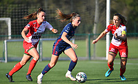Jill Janssens (7) of OH Leuven with Pauline Windels (5) of Zulte Waregem and Romy Camps (3) of Zulte Waregem  pictured during a female soccer game between SV Zulte - Waregem and Oud Heverlee Leuven on the sixth matchday of the 2021 - 2022 season of Belgian Scooore Womens Super League , saturday 9 of October 2021  in Zulte , Belgium . PHOTO SPORTPIX | DIRK VUYLSTEKE