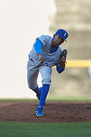 Burlington Royals starting pitcher Adrian Alcantara (32) follows through on his delivery against the Pulaski Yankees at Calfee Park on August 31, 2019 in Pulaski, Virginia. The Yankees defeated the Royals 6-0. (Brian Westerholt/Four Seam Images)