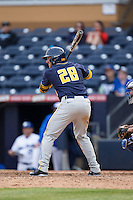 Brett Cumberland (28) of the California Golden Bears at bat against the Duke Blue Devils at Durham Bulls Athletic Park on February 20, 2016 in Durham, North Carolina.  The Blue Devils defeated the Golden Bears 6-5 in 10 innings.  (Brian Westerholt/Four Seam Images)