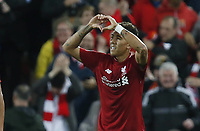 Sport Bilder des Tages Liverpool forward Roberto Firmino celebrates celebrating scoring the third and winning goal during the UEFA Champions League - Group C match at the Anfield Stadium, Liverpool. Picture date 18th September 2018. Picture credit should read: Andrew Yates/Sportimage PUBLICATIONxNOTxINxUK  <br /> Uefa Champions League 2018/2019 <br /> Foto Imago / Insidefoto <br /> ITALY ONLY