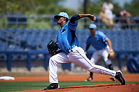 Charlotte Stone Crabs starting pitcher Genesis Cabrera (27) delivers a pitch during a game against the Lakeland Flying Tigers on April 16, 2017 at Charlotte Sports Park in Port Charlotte, Florida.  Lakeland defeated Charlotte 4-2.  (Mike Janes/Four Seam Images)