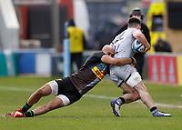 20th February 2021; Twickenham Stoop, London, England; English Premiership Rugby, Harlequins versus Sale Sharks; Aaron Morris of Harlequins tackles Raffi Quirke of Sale Sharks