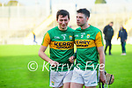 Tomás O'Connor and Shane Nolan, Kerry after the Joe McDonagh hurling cup fourth round match between Kerry and Carlow at Austin Stack Park on Saturday.