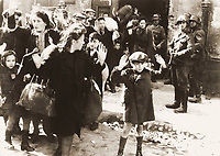 "1943/04/19 - 1943/05/16 - Photo from J¸rgen Stroop Report to Heinrich Himmler from May 1943. The original German caption reads: ""Forcibly pulled out of dug-outs"". One of the most famous pictures of World War II. People recognized in the picture:"