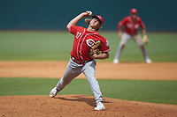 Luke Hayden (37) of Edgewood HS in Bloomington, IN playing for the Cincinnati Reds scout team during the East Coast Pro Showcase at the Hoover Met Complex on August 4, 2020 in Hoover, AL. (Brian Westerholt/Four Seam Images)
