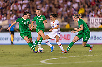 PASADENA, CA - AUGUST 4: Niamh Fahey #5 defends Carli Lloyd #10 during a game between Ireland and USWNT at Rose Bowl on August 3, 2019 in Pasadena, California.