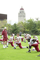 The team practices on April 8, 2002 at the practice field at Stanford, CA.<br />Photo credit mandatory: Gonzalesphoto.com