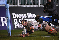 19th February 2021; Recreation Ground, Bath, Somerset, England; English Premiership Rugby, Bath versus Gloucester; Lewis Ludlow of Gloucester dives over and scores a try in the corner under pressure from Will Chudley of Bath