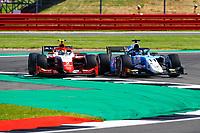 18th July 2021; Silverstone Circuit, Silverstone, Northamptonshire, England; F2 British Grand Prix, Race Day;  02 Piastri Oscar (aus), Prema Racing, Dallara F2 alongside 11 Verschoor Richard (nld), MP Motorsport, Dallara F2