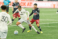 FOXBOROUGH, MA - NOVEMBER 1: Yamil Asad #11 of DC United brings the ball forward during a game between D.C. United and New England Revolution at Gillette Stadium on November 1, 2020 in Foxborough, Massachusetts.