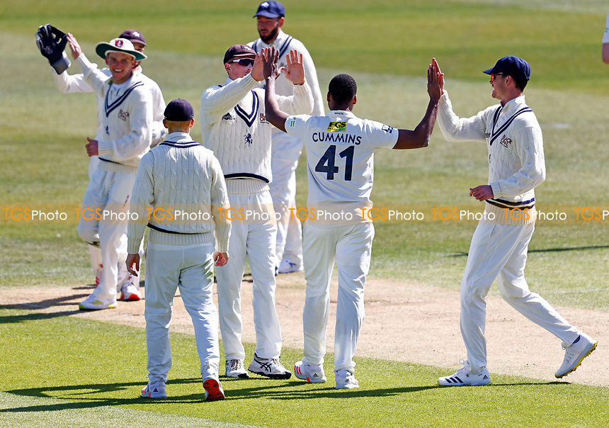 Miguel Cummins of Kent is congratulated after taking the wicket of Luke Wells during Kent CCC vs Lancashire CCC, LV Insurance County Championship Group 3 Cricket at The Spitfire Ground on 22nd April 2021