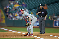 Oklahoma Sooners first baseman Tyler Hardman (36) on defense against the LSU Tigers in game seven of the 2020 Shriners Hospitals for Children College Classic at Minute Maid Park on March 1, 2020 in Houston, Texas. The Sooners defeated the Tigers 1-0. (Brian Westerholt/Four Seam Images)