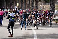 peloton passing a feedzone<br /> <br /> Stage 4 from Terni to Prati di Tivo (148km)<br /> <br /> 56th Tirreno-Adriatico 2021 (2.UWT) <br /> <br /> ©kramon