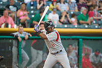 Angelys Nina (6) of the Albuquerque Isotopes at bat against the Salt Lake Bees in Pacific Coast League action at Smith's Ballpark on June 8, 2015 in Salt Lake City, Utah.  (Stephen Smith/Four Seam Images)