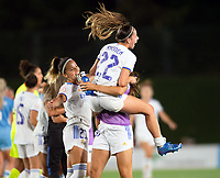 31st August 2021; Estadio Afredo Di Stefano, Madrid, Spain; Women's Champions League, Real Madrid CF versus Manchester City Football Club; Atenea and Zorzona celebrating after the match