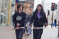 EMO Couple walking on Corporation Street Birmingham 2006