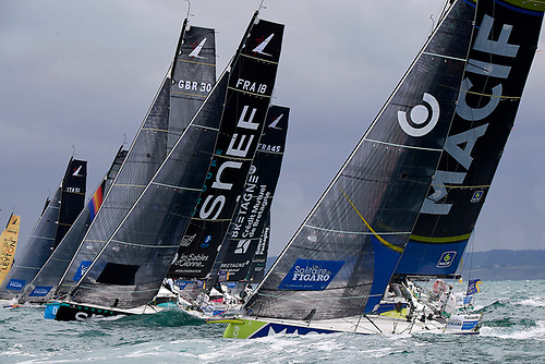 A fleet start of the la Solitaire du Figaro 2020 from Saint-Quay- Portrieux