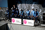 Movistar Team at sign on before Stage 2 of Paris-Nice 2021, running 188km from Oinville-sur-Montcient to Amilly, France. 8th March 2021.<br /> Picture: ASO/Fabien Boukla | Cyclefile<br /> <br /> All photos usage must carry mandatory copyright credit (© Cyclefile | ASO/Fabien Boukla)