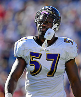 21 October 2007: Baltimore Ravens linebacker Bart Scott walks back to the bench after a play against the Buffalo Bills at Ralph Wilson Stadium in Orchard Park, NY. The Bills defeated the Ravens 19-14 in front of 70,727 fans marking their second win of the 2007 season...Mandatory Photo Credit: Ed Wolfstein Photo