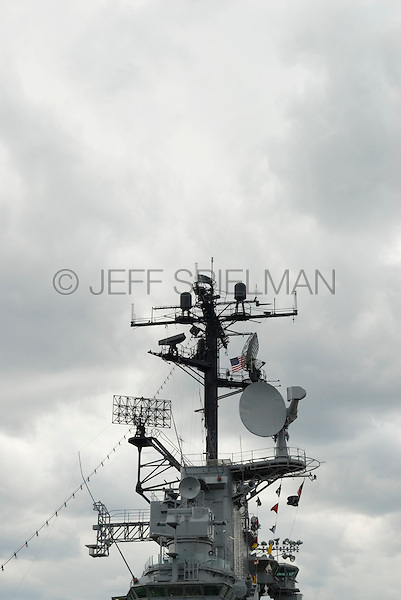 Island Superstructure and Communications Antennae Aboard a Vintage United States Navy Aircraft Carrier and Cloudy Sky, Intrepid Sea, Air and Space Museum, New York City, New York State, USA