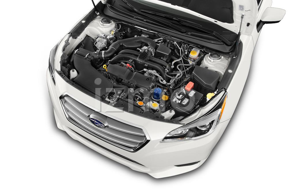 Car Stock 2017 Subaru Legacy 2.5I Premium 4 Door Sedan 2WD Engine high angle detail view