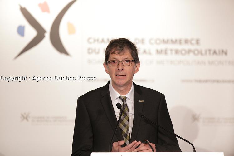Gaetan Morin present the Fond de solidarite de la FTQ new strategic orientations before Montreal Metropolitan Board of Trade, April 22, 2016.<br /> <br /> Photo : Pierre Roussel - Agence Quebec Presse<br /> <br /> <br /> <br /> <br /> <br /> <br /> <br /> <br /> .
