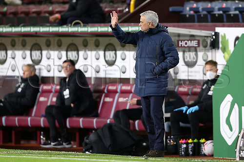 26th October 2020, Turf Moor, Burnley UK; EPL Premier League football, Burnley v Tottenham Hotspur; Trainer Tottenham Hotspur Manager Jose Mourinho gestures