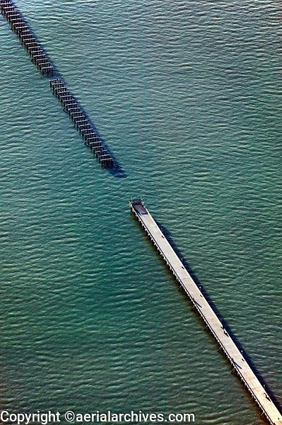 aerial photograph of the deteriorating Berkeley Pier, San Francisco Bay, California