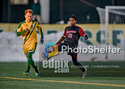 13 November 2019: University of Hartford Hawk Midfielder Addrian Knights-Browne, a Freshman from North York, Ontario, in action against the University of Vermont Catamounts at Virtue Field in Burlington, Vermont. The Hawks defeated the Catamounts 3-2 in sudden death overtime of the Division 1 Men's Soccer America East matchup. Mandatory Credit: Ed Wolfstein Photo *** RAW (NEF) Image File Available ***