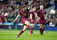 Photo: Richard Lane/Richard Lane Photography. England v Australia. QBE Autumn Internationals. 17/11/2012. England's Toby Flood kicks.