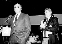 Montreal (Qc) CANADA - 1987 File Photo - - New Democratic Party (NDP) Convention  - - Ed Broadbent , Michael Aganieff (R)<br /> <br /> PHOTO :  Agence Quebec Presse